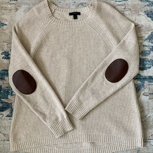 J. Crew — cream sweater with elbow patch